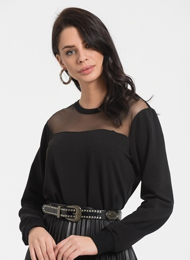 Styletag Tül Garnili Sweatshirt Siyah